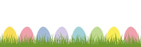 colorful easter eggs in the meadow on white background vector illustration EPS10