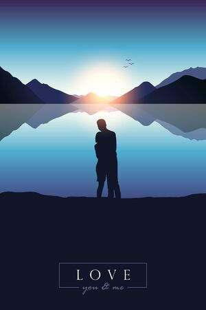 young couple in love at sunrise by blue lake with mountain view illustration Ilustrace
