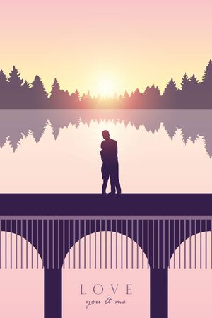 romantic couple in love on a bridge by the sea at sunset illustration