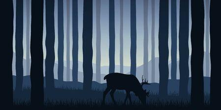 wildlife elk in blue forest nature landscape vector illustration EPS10