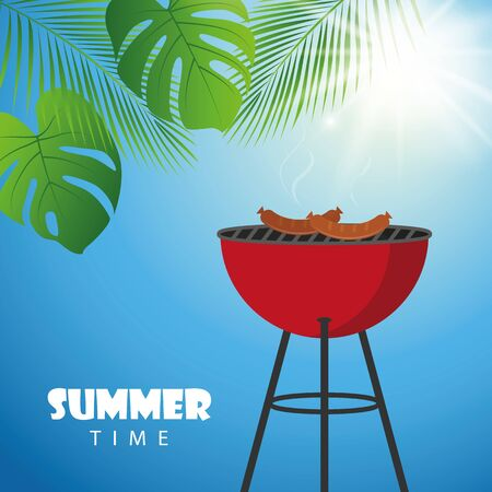 barbeque on a sunny summer day with palm leaf vector illustration EPS10 Ilustracja