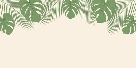 summer background with palm leaf and copy space vector illustration EPS10