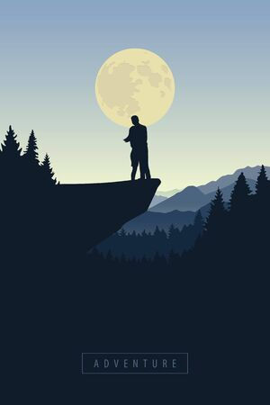 couple on a cliff in snowy mountain at moon shine vector illustration EPS10