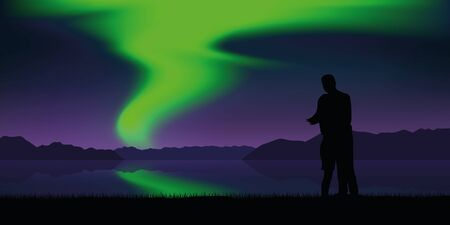couple by the lake with beautiful green polar lights nature landscape vector illustration EPS10