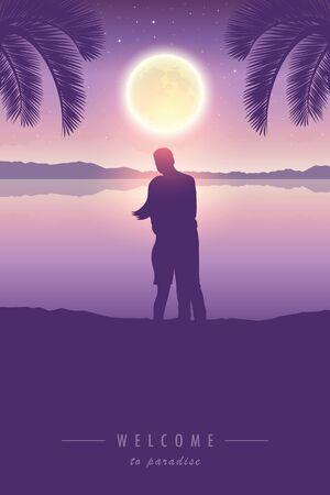 loving couple enjoy the full moon under palm tree illustration Ilustrace