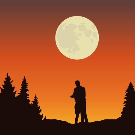 couple looks to the full moon in forest landscape at night illustration Ilustrace