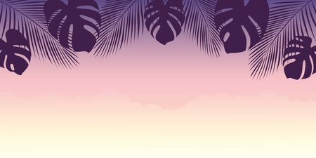 beautiful purple sunset summer holiday design with palm tree leaves vector illustration EPS10 Reklamní fotografie - 137603257