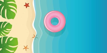 beautiful palm beach with starfish and floating ring vector illustration EPS10