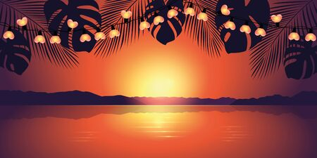 romantic sunset at paradise beach with heart fairy light vector illustration EPS10 Reklamní fotografie - 137603938