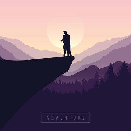 couple on a cliff adventure in nature with purple mountain view vector illustration EPS10