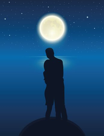couple by the lake with full moon in a starry night vector illustration EPS10