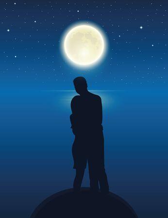 Pareja junto al lago con luna llena en una noche estrellada ilustración vectorial EPS10 Ilustración de vector