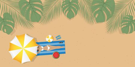 girl on palm beach under umbrella with sunglasses and ball summer holiday design illustration