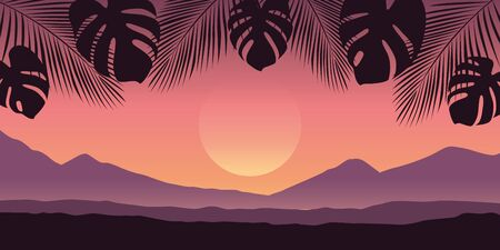 beautiful palm tree silhouette landscape in purple colors vector illustration EPS10 Reklamní fotografie - 137690292