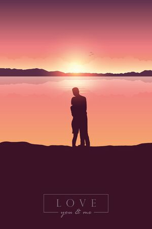 young couple in love at sunrise by lake with mountain view vector illustration EPS10