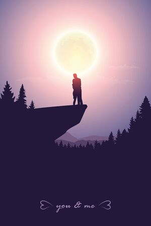 young couple looks to the full moon mystic nature landscape vector illustration EPS10 Ilustrace