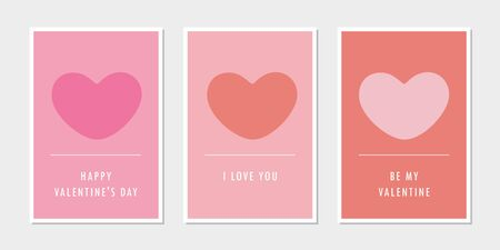 set of valentines day greeting cards with heart vector illustration EPS10 Reklamní fotografie - 137693771
