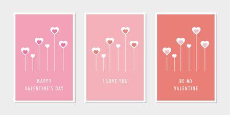 set of valentines day greeting cards with heart vector illustration EPS10 Reklamní fotografie - 137693340