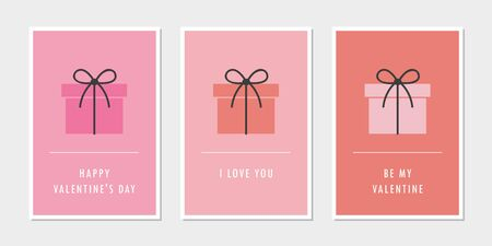 set of valentines day greeting cards with gift vector illustration EPS10