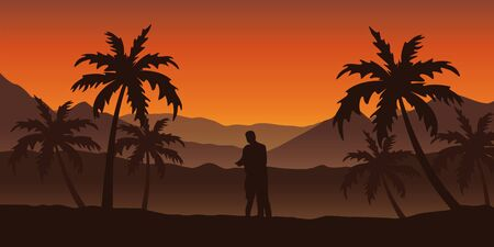 couple in love at beautiful palm tree silhouette landscape in orange colors vector illustration EPS10