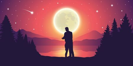 couple in love at beautiful lake at night with full moon and starry sky mystic landscape vector illustration EPS10 Ilustrace