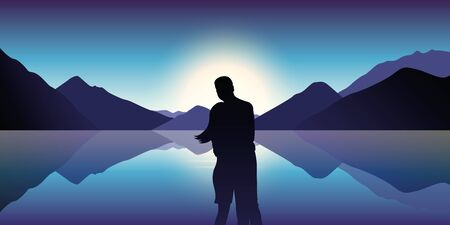 couple in love enjoy the blue mountain and ocean landscape in the dusk illustration