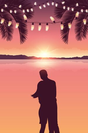 couple in love at sea and beautiful sunset with fairy light and palm trees vector illustration EPS10 Reklamní fotografie - 137827081