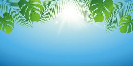 sunny summer day background with palm leaf vector illustration EPS10 Reklamní fotografie - 137827273