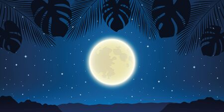romantic night background with full moon and palm tree leaves vector illustration EPS10