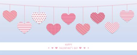 hanging red hearts with different pattern for valentines day vector illustration EPS10 Reklamní fotografie - 137830330