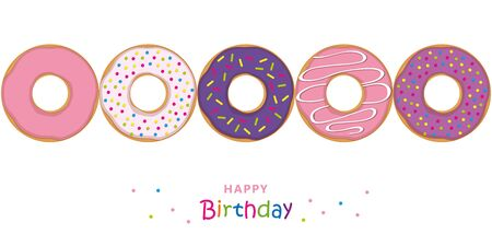happy birthday greeting card with colorful donuts and sprinkles illustration