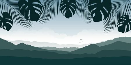 beautiful palm tree silhouette mountain landscape in green colors illustration