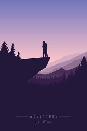 couple in love on a cliff adventure in nature with mountain view illustration