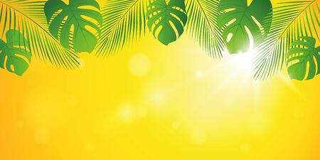palm tree leaves on tropical yellow sunny summer background illustration