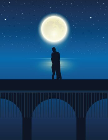 couple on a bridge by the lake with full moon in a starry night vector illustration EPS10