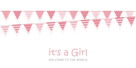 its a girl welcome greeting card for childbirth illustration Ilustrace