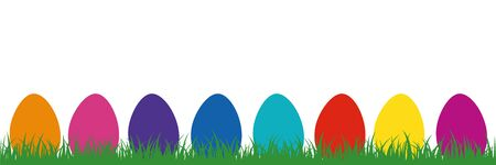 colorful easter eggs in the meadow on white background illustration