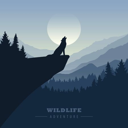 wolf on a cliff howls at full moon blue nature landscape illustration