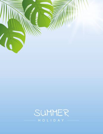 summer holiday sky with palm leaf and sunshine background vector illustration EPS10 Ilustracja