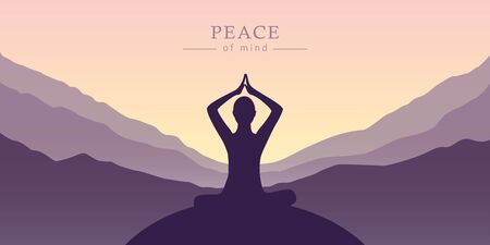 peace of mind meditation concept silhouette with mountain background illustration