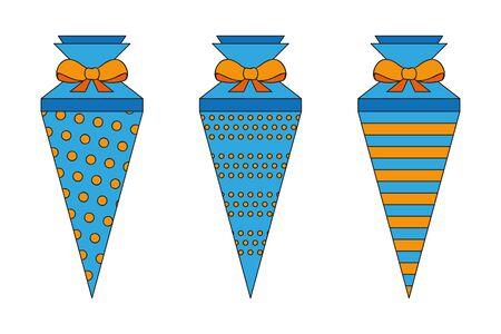 pattern school cone set blue and orange illustration