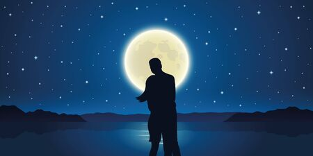 romantic night couple in love at the sea with full moon vector illustration EPS10