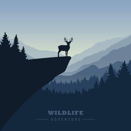 wildlife adventure elk in the wilderness on a cliff illustration