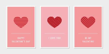 set of valentines day greeting cards with heart illustration Ilustrace
