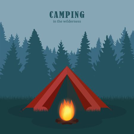 camping in the wilderness red tent in forest with campfire illustration