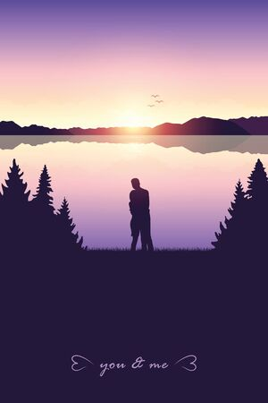 young couple by the lake in forest nature landscape at sunrise illustration