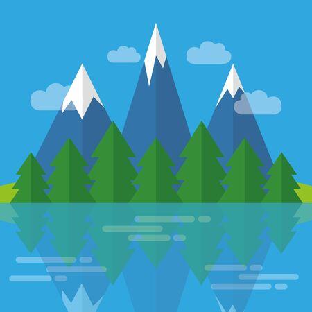 Rivière dans les montagnes forêt nature paysage illustration vecteur EPS10