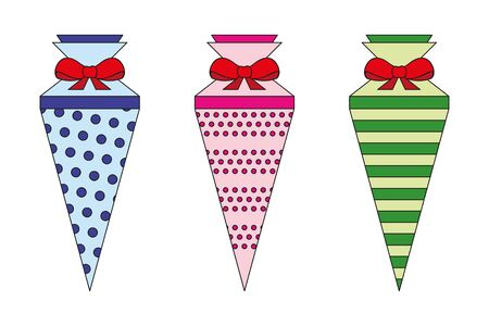 colorful pattern school cone set illustration