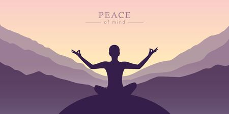 peace of mind meditation concept silhouette with mountain background illustration Reklamní fotografie - 139268067
