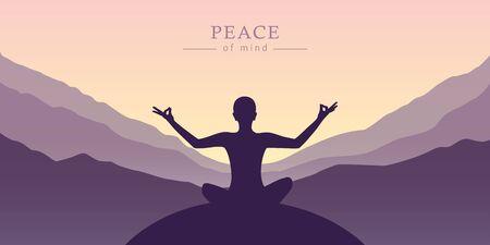 silhouette de concept de méditation de tranquillité d'esprit avec illustration de fond de montagne Vecteurs